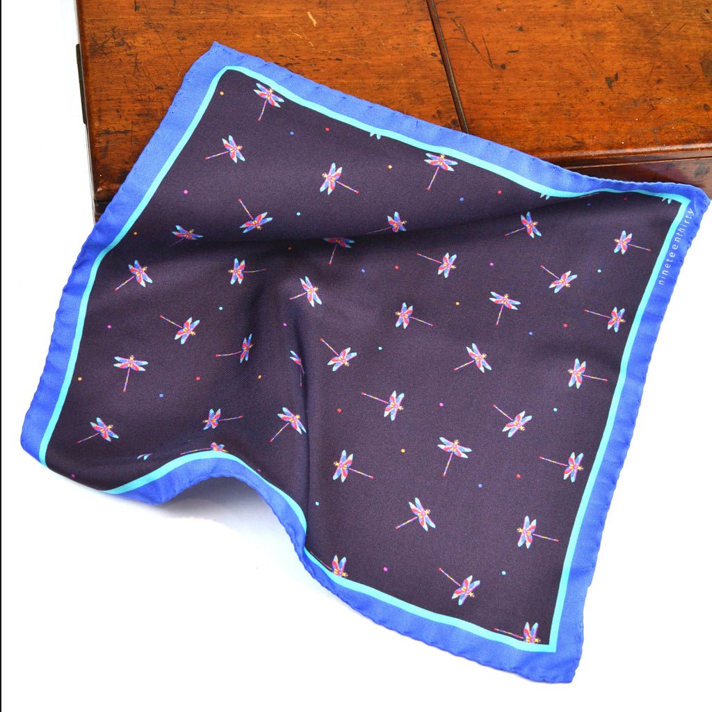 Silk purple grape pocket square with pink and blue dragonflies - Nineteenthirty Menswear - 1
