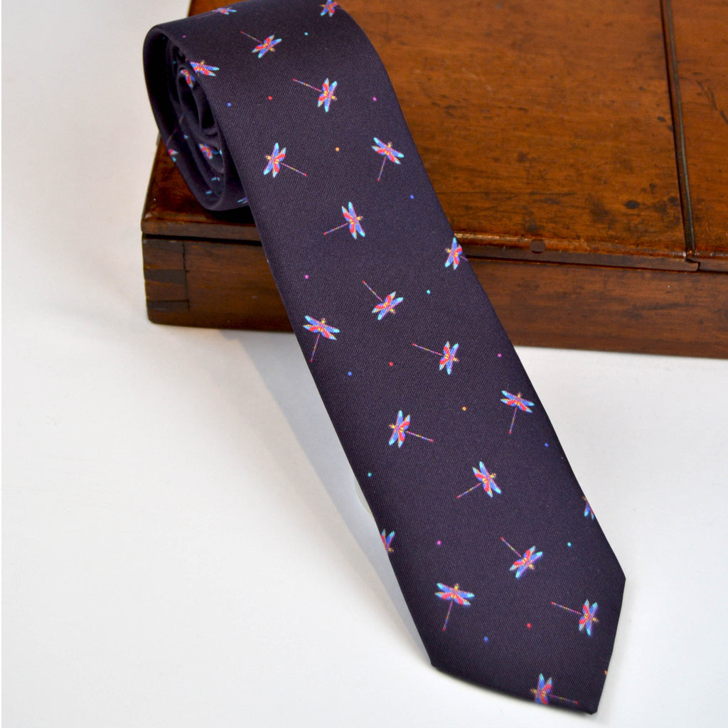 Silk purple grape tie with pink and blue dragonflies - Nineteenthirty Menswear - 1
