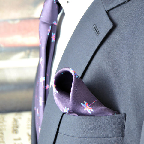 Silk purple grape pocket square with pink and blue dragonflies