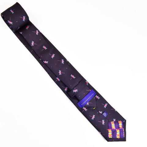 Silk purple grape tie with pink and blue dragonflies