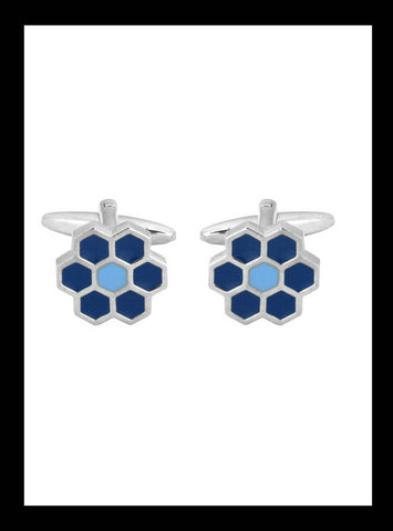 Hexagonal Blue Daisy Cufflinks