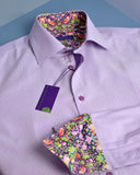 Lilac micro dot men's shirt trimmed with archival Liberty - Nineteenthirty Menswear - 1
