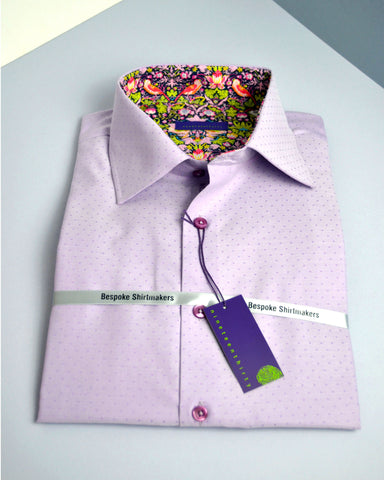 Lilac micro dot men's shirt trimmed with archival Liberty