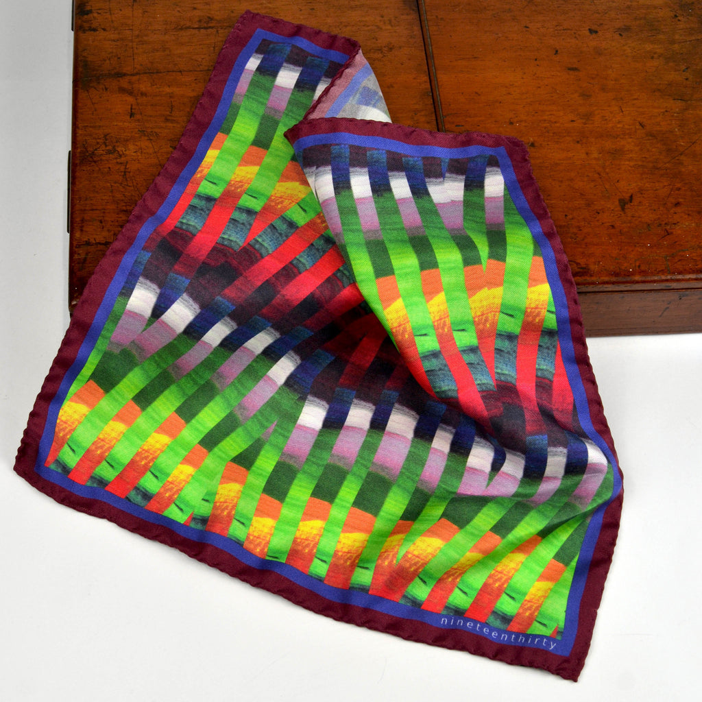 Multi colour Silk pocket square - Nineteenthirty Menswear - 1
