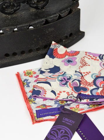 Liberty print hand made gent's pocket squares in reds, purples and blues