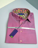A men's deep pink shirt with Liberty print trim - Nineteenthirty Menswear - 2