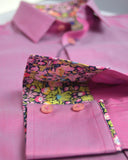 A men's deep pink shirt with Liberty print trim - Nineteenthirty Menswear - 4