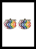 Oval  Rhodium Rainbow Striped Cufflinks - Nineteenthirty Menswear - 1