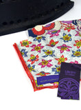 Liberty print hand made gent's pocket squares in reds, purples and blues - Nineteenthirty Menswear - 3