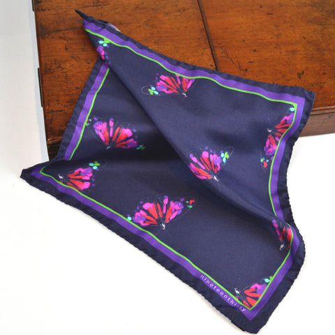 Navy men's silk pocket square with butterfly motif
