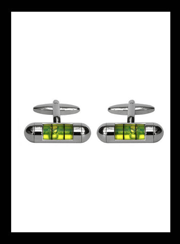 Spirit level green cufflinks