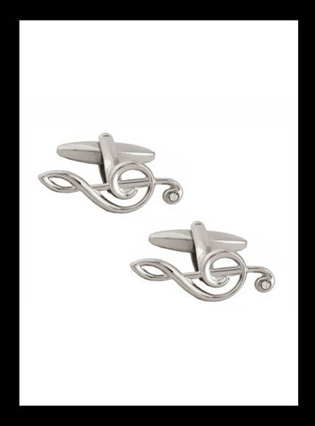 Metallic silver treble clef cufflinks