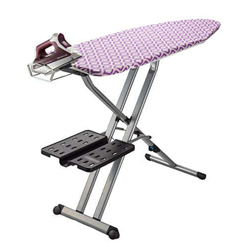 Bartnelli Pro XL Compact Professional Space Saving Folding Ironing Board 4-Leg with Hanger Racks and Cotton Cover, 18-Inch by 54-Inch