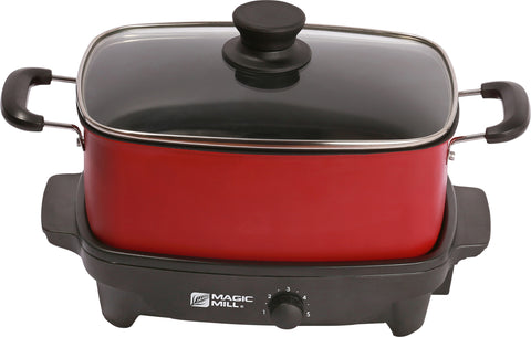 MAGIC MILL 6 QT RED SLOW COOKER WITH COVER KNOB AND COOL TOUCH HANDLES MODEL# MSC629
