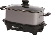 MAGIC MILL 6 QT GRAY SLOW COOKER WITH COVER KNOB AND COOL TOUCH HANDLES MODEL# MSC628