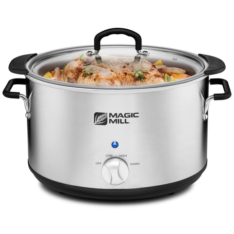 MAGIC MILL 8 QUART OVAL CROCK POT WITH COOL TOUCH HANDLES AND ALUMINUM POT WITH HEAVY DUTY NON-STICK COATING MODEL# MSC820