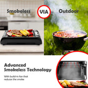 Magic-Mill Electric Smokeless Grill and Griddle Pan for Indoor BBQ in Your kitchen – Digital Temperature Control - Cooking Timer – Built in Fan for Smokeless Grilling