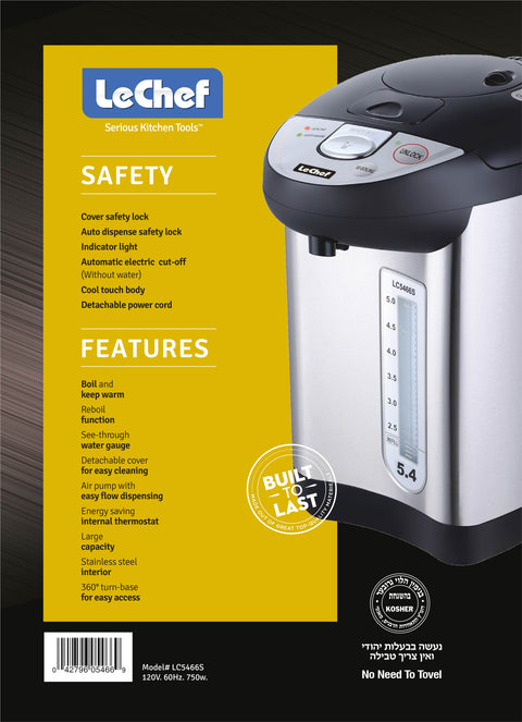 LE'CHEF ELECTRIC HOT WATER POT 5.4 QT MODEL# LC5466S