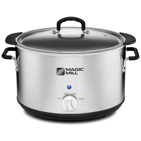 MAGIC MILL 10 QUART OVAL CROCK POT WITH COOL TOUCH HANDLES AND ALUMINUM POT WITH HEAVY DUTY NON-STICK COATING MODEL# MSC1030