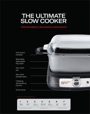 MAGIC MILL  DELUXE 12.5 QT GRAY SLOW COOKER WITH FLAT GLASS COVER AND COOL TOUCH HANDLES MODEL# MSC1242