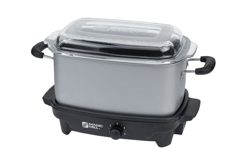 MAGIC MILL 5 QT GRAY SLOW COOKER WITH FLAT GLASS COVER AND COOL TOUCH HANDLES MODEL# MSC530