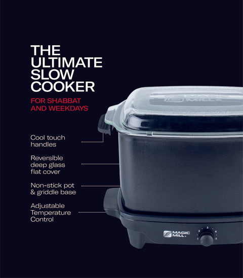 MAGIC MILL 7 QT GRAY SLOW COOKER WITH FLAT GLASS COVER AND RUBBER HANDLES MODEL# MSC720