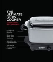 MAGIC MILL 7 QT GRAY SLOW COOKER WITH FLAT GLASS COVER AND COOL TOUCH HANDLES MODEL# MSC730