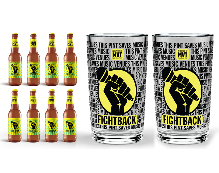 Buy 8 pack of Fightback Cider with 2 Fightback Pint Glasses