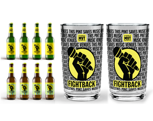 Fightback Beer Pack with Lager, IPA, and 2 Fightback pint glasses
