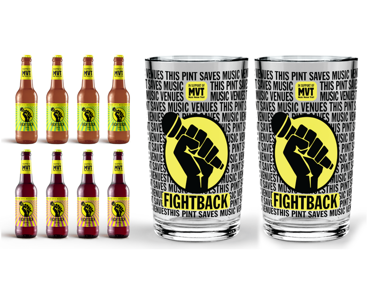 Fightback Fruit pack with cider and berries and 2 Fightback pint glasses