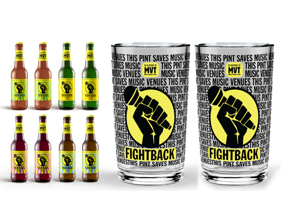 Fightback pack beverage pack with 2 Fightback pint glasses