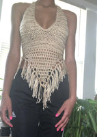 Diamond Bralette Top with Fringes