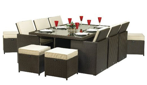 Royalcraft Roma Grey Rattan 10 Seater Cube Set
