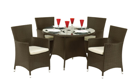 Royalcraft Cannes Mocha Brown 5 Piece Round Rattan Dining Set