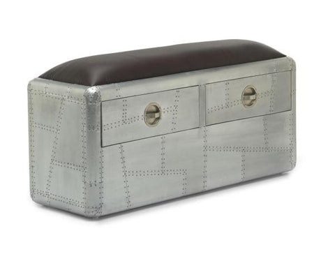 Aviator Brushed Aluminium 2 Drawer Bench