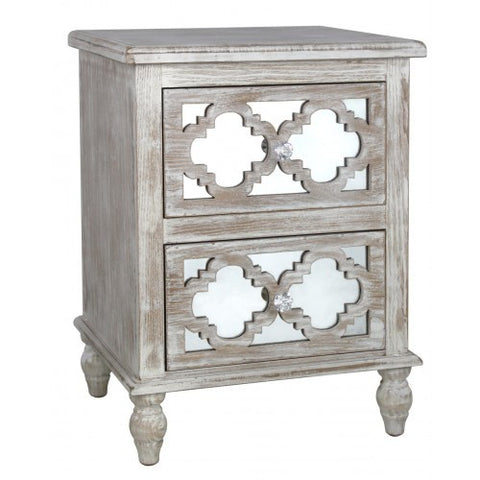 Hamlin Beach Wooden Mirrored 2 Drawer Cabinet