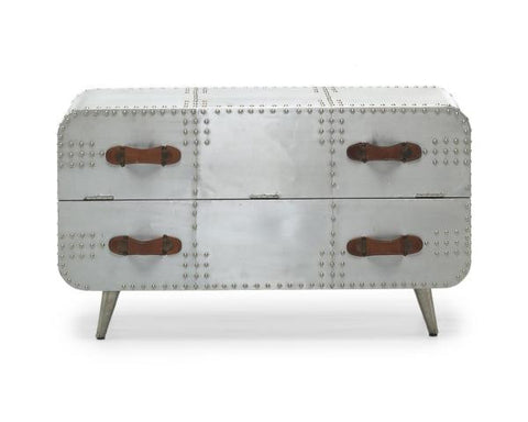 Aviator Brushed Aluminium 2 Drawer Chest