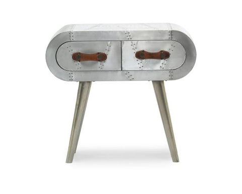 Aviator Brushed Aluminium 2 Drawer Console Table