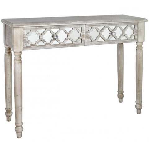 Hamlin Beach Wooden Mirrored 2 Drawer Console Table