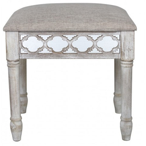 Hamlin Beach Wooden Mirrored Vanity Stool