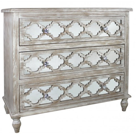 Hamlin Beach Wooden Mirrored 3 Drawer Chest / Cabinet