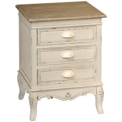 Country Cream Shabby Chic 3 Drawer Bedside