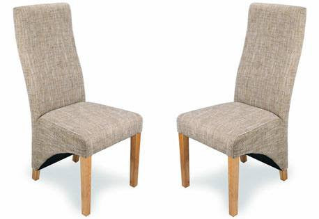 Two Shankar Baxter High Back Tweed Dining Chairs