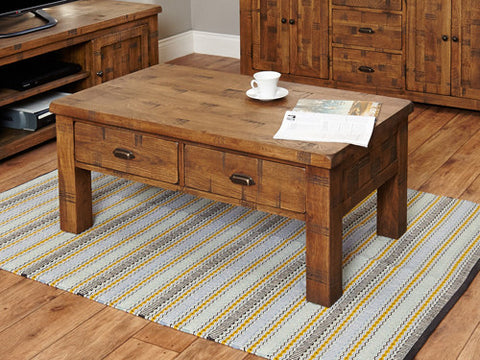 Heyford Wooden Rough Sawn Oak 4 Drawer Coffee Table