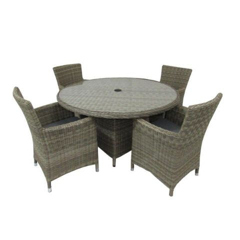 Royalcraft Wentworth 4-Seat Round Rattan Carver Dining Set.