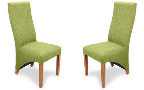 Two Shankar Baxter Linen Style Lime Dining Chairs