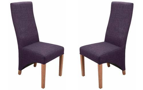 Two Shankar Baxter Linen Style Plum Dining Chairs