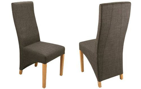 Two Shankar Baxter Linen Style Charcoal Dining Chairs