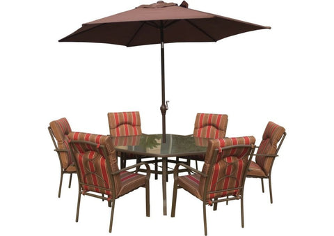 Royalcraft Amalfi 8pc Hexagonal Set with Chocolate Parasol.
