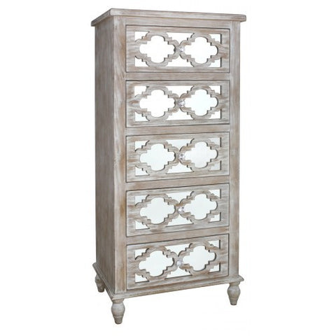 Hamlin Beach Wooden Mirrored 5 Drawer Cabinet